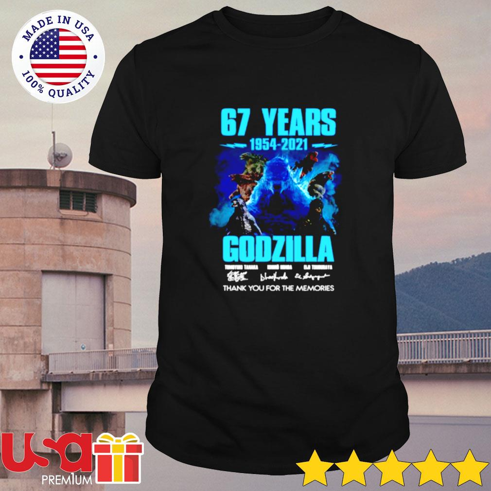 67 years 1954-2021 Godzilla thank you for the memories shirt