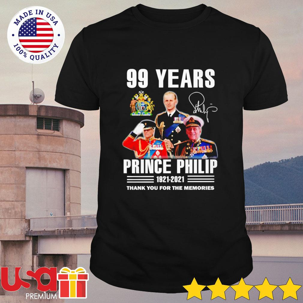 Prince Philip 99 Years 1921-2021 signature thank you for the memories shirt