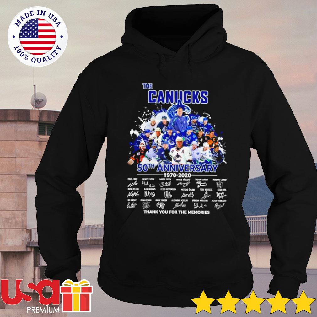 The Canucks 52th anniversary 1970-2020 thank you for the memories signatures s hoodie