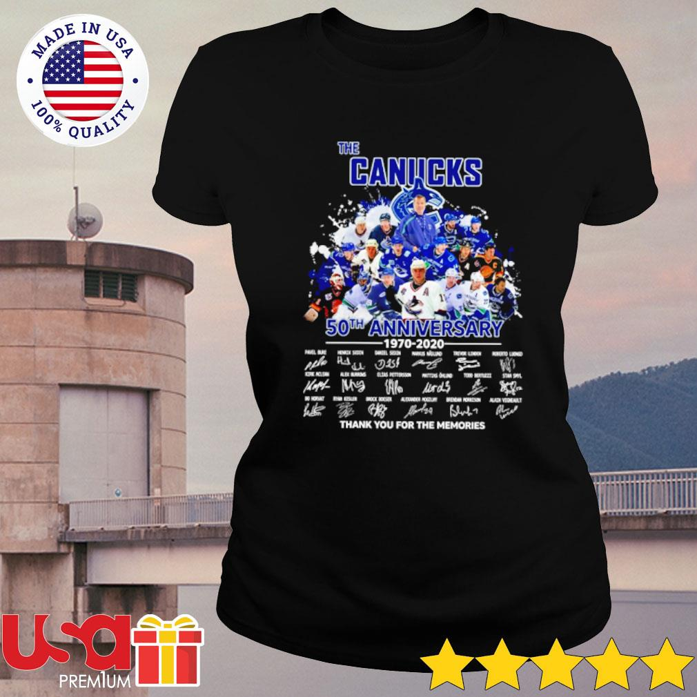 The Canucks 52th anniversary 1970-2020 thank you for the memories signatures s ladies-tee