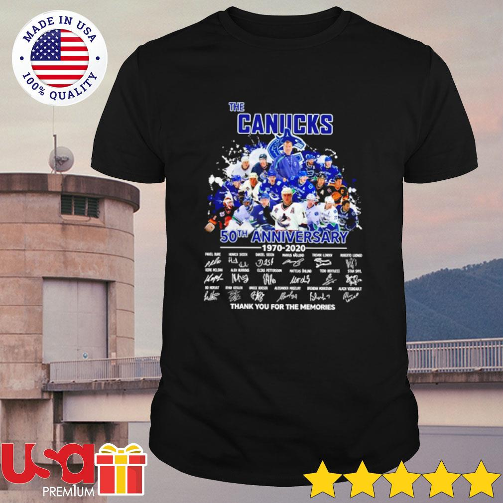 The Canucks 52th anniversary 1970-2020 thank you for the memories signatures shirt