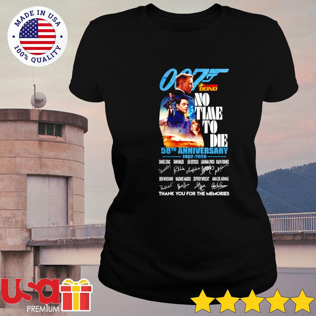 007 James Bond No time to Die 58th Anniversary 1962-2020 signature thank you for the memories s ladies-tee