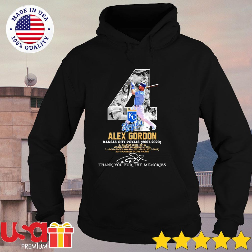 04th Alex Gordon Kansas city Royals 2007-2020 signature thank you for the memories s hoodie